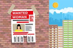 Wanted person paper poster. Missing announce. Information tear off papers. Search for lost person in big city. Vector illustration in flat style Stock Photography