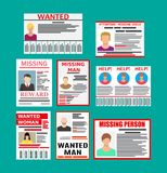 Wanted person paper poster. Missing announce Stock Photography