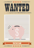 Wanted piggy bank poster Stock Images
