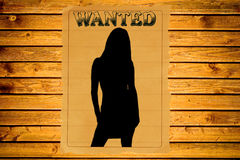 Wanted poster. With a female silhouette (vintage Wild West style stock photo