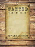Wanted poster. Antique page - wanted dead or alive. vintage wanted poster Royalty Free Stock Images