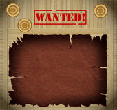 Wanted poster. Wild west wanted poster on wooden background Stock Photo