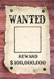 Wanted poster. On wood background stock photography