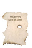 Wanted Poster. Wanted Dead or Alive Poster with burnt edges royalty free stock photography