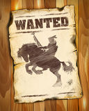Wanted poster with american indian silhouette on horseback Royalty Free Stock Photography
