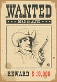 Wanted poster.Vector western illustration with bandit man in mask and gun royalty free illustration