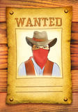 Wanted poster with bandit face in red mask stock illustration