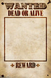 Wanted Poster - Blank Reward. Realistic Wanted Poster, reward left blank for custom value Stock Images