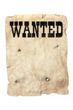 Wanted poster and bullet holes. Antique style yellow old distressed wanted poster with bullet holes stock photo
