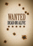 Wanted poster with bullet holes Royalty Free Stock Photo