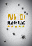Wanted poster with bullet holes Royalty Free Stock Photos