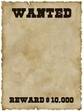 Wanted poster (with clipping path). Wanted poster with frayed edges (isolated and clipping path Stock Photo