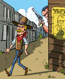 Wanted poster for a cowboy. Cartoon illustration with a Wanted notice for a cowboy with a handsome sheriff Stock Images