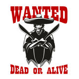Wanted poster with dangerous mexican bandit. Mexican bandit symbol wearing poncho and sombrero is standing with machetes in crossed hands, flanked by caption Stock Photo