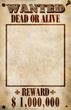 Wanted Poster - Dollar Reward Stock Photos