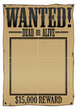 Wanted Poster EPS. Old Wild West wanted dead or alive poster with torn edges. Available in vector EPS Royalty Free Stock Image