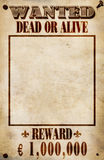 Wanted Poster - Euro Reward Stock Photos