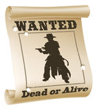 Wanted poster illustration. An illustration of a wanted poster with text �wanted dead or alive�, cowboy silhouette and bullet holes Royalty Free Stock Photo