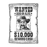 Wanted poster with man in hat. Vintage engraving Stock Images