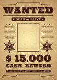 Wanted poster. Old distressed western criminal vector template. Dead or alive wanted background. vector illustration