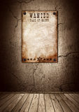 Wanted poster in old grunge interior vector illustration