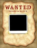 Wanted Poster with Polaroid. Computer illustrated image. Blank polaroid taped to background, room for your message below Stock Photo