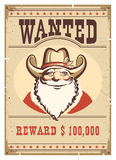 Wanted poster Santa Claus in cowboy hat on old paper card Stock Image