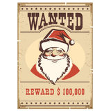 Wanted poster Santa Claus on old paper card Stock Photography
