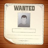 Wanted Poster on Wooden Wall. Vector Template Stock Image
