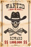 Wanted poster template. Cowboy skull with crossed revolvers. Design element for poster, card, label, sign, card, banner vector illustration