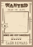 Wanted poster template vector illustration in vintage style. Dead or live Royalty Free Stock Photo