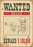 Wanted poster.Vector western illustration with bandit man and gun royalty free illustration
