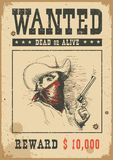 Wanted poster.Vector western illustration with bandit man in mask royalty free illustration