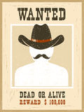 Wanted poster.Western vintage paper for portrait face Royalty Free Stock Photo