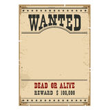 Wanted poster.Western vintage paper on wood wall for design Royalty Free Stock Photos