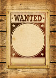 Wanted poster on a wood board Stock Images