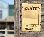 Wanted poster. At wooden wall Stock Photography