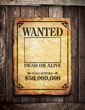 Wanted Poster. On wooden wall stock photography