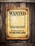 Wanted Poster. On wooden wall royalty free stock photo
