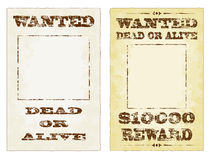 Wanted Posters. Wanted dead or alive grungy faded posters Stock Images