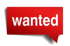 Wanted red 3d realistic paper speech bubble Royalty Free Stock Photo
