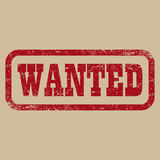 Wanted red stamp text on brown background.  illustration Royalty Free Stock Image