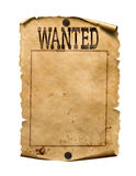 Wanted for reward poster 3d illustration isolated. Wanted dead or live paper reward poster royalty free stock image