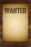 Wanted sign on old paper Stock Image