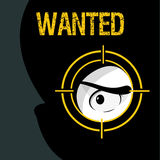 Wanted sign with a thief. And a gun-sight. Black and grey background, cartoon style, vector illustration vector illustration