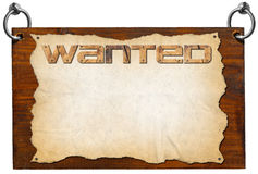 Wanted Signboard with clipping path Royalty Free Stock Image