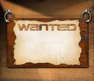 Wanted Signboard on Wooden Wall Royalty Free Stock Photography