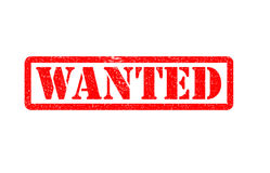 Wanted text rubber seal stamp watermark. Caption inside rectangular banner with grunge design and unclean textur Stock Image