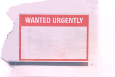 Free Wanted Urgently Royalty Free Stock Image - 4472426