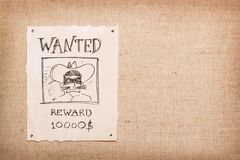 Wanted vintage illustration background. Wanted vintage illustration with bandit in mask royalty free stock photography